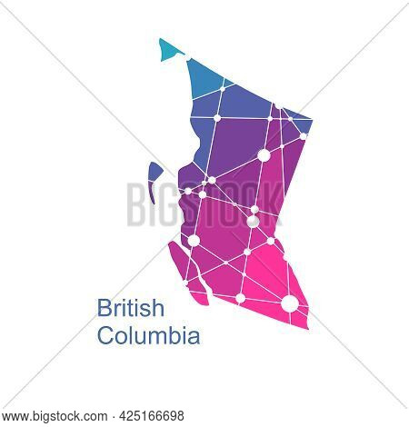 Map Of British Columbia. Concept Of Travel And Geography Of Canada.