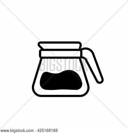 Glass Teapot Or Kettle With Coffee Black Line Icon. Coffee Break Pause. Trendy Flat Isolated Symbol