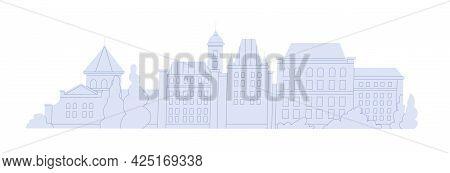 Urban Historical Buildings Of Abstract European City. Cityscape With Small Houses And Towers. Facade