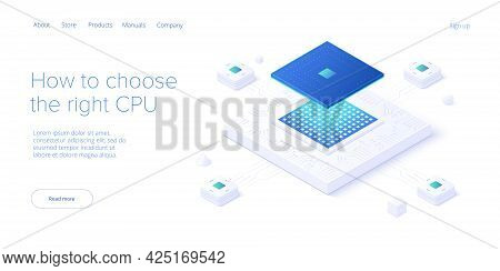 Computer Cpu Chip Illustration In Isometric Vector Design. Semiconductor Microchip Or Processor. Abs