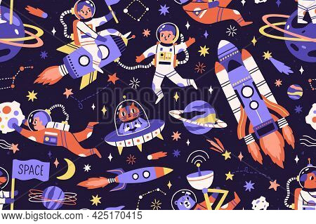 Seamless Childish Cosmic Pattern With Cute Animals, Cosmonauts And Spaceships In Space. Repeating Te