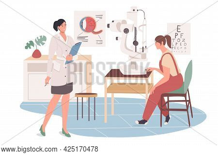 Medical Office Web Concept. Patient At Ophthalmologist Appointment. Doctor Examines Eyes Health, Che