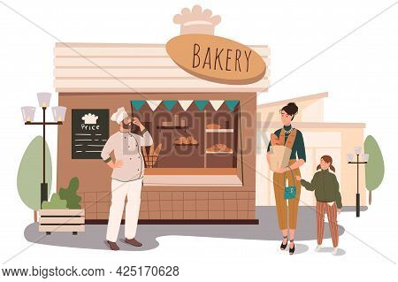 Bakery Shop Building Web Concept. Mother And Daughter Shopping For Fresh Bread And Pastries At Store