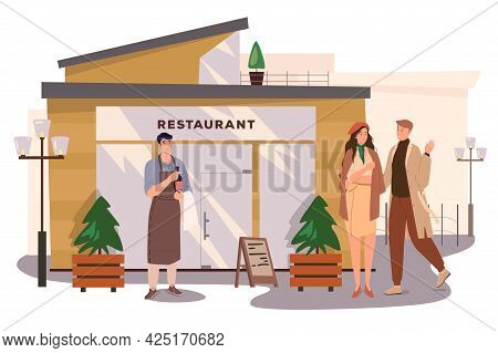 Restaurant Building Web Concept. Couple Going To Dinner In Cafe, Waiter Is Holding Bottle Of Wine. M