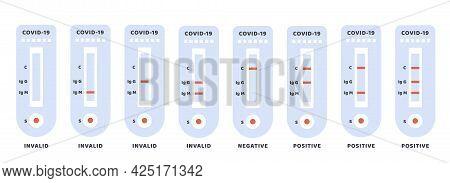 Set Of Covid-19 Positive, Negative And Invalid Results. Coronavirus Antibody Test Icon. Blood Test K