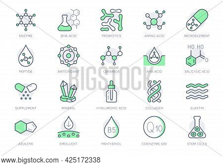 Cosmetic Compounds Line Icons. Vector Illustration Include Icon - Vitamin, Antioxidant, Coenzyme Q10