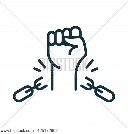 Freedom And Human Rights Concept. Broken Shackles With Fist Raised Up Linear Icon. Chain Of Slavery