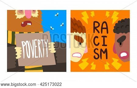 Social Problem Poster With Poverty And Racism Vector Set