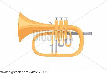 Golden Cornet, Brass Wind Music Instrument. Classical Realistic Twisted Trumpet. Colored Flat Cartoo