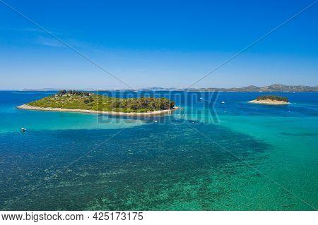 Aerial View Of Beautiful Islands On Adriatic Sea In Croatia, Near Town Of Pakostane