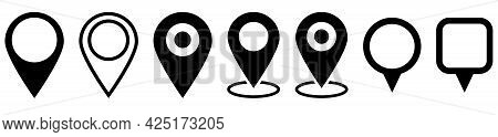 Collection Of Map Pin Icons. Modern Map Markers. Location Pin Sign. Vector Icon Isolated On White Ba
