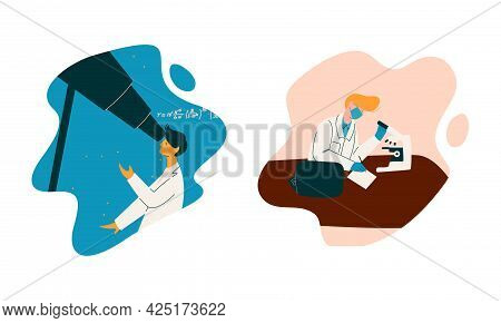 Man Scientist In Laboratory Coat Conducting Research And Investigation Vector Set