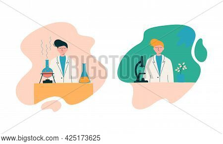 Man Scientist In Laboratory Coat Conducting Research And Investigation With Microscope And Flask Wit