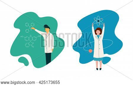 Man And Woman Scientist In Laboratory Coat Conducting Research And Investigation Vector Set