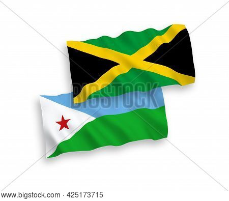 National Fabric Wave Flags Of Republic Of Djibouti And Jamaica Isolated On White Background. 1 To 2