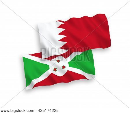 National Fabric Wave Flags Of Burundi And Bahrain Isolated On White Background. 1 To 2 Proportion.