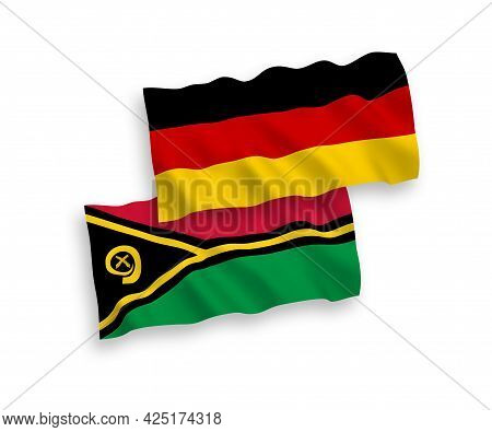 National Fabric Wave Flags Of Germany And Republic Of Vanuatu Isolated On White Background. 1 To 2 P