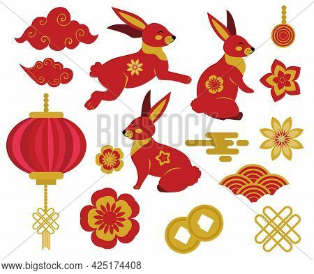 Chuseok, Mid Autumn Festival Set Of Chinese Style Design Element With Rabbit, Clouds, Lanterns. Year