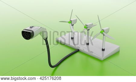 Wind Turbine And Plug For Charging Electric Cars. Wind Energy For Powering Electric Vehicles. 3d Ren