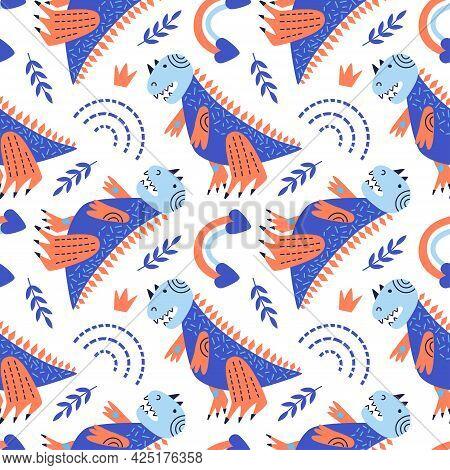 Vector Illustration Of Seamless Pattern With Dinosaur. Blue Tyrannosaurus Rex On A White Background.