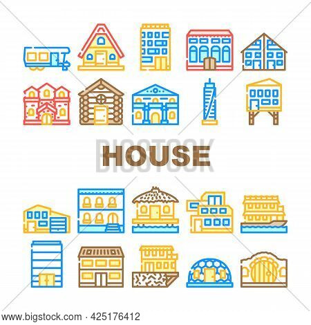 House Real Estate Collection Icons Set Vector. Bungalow On Water And Skyscraper Office Building, Cot