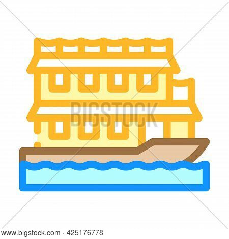 Floating Boat House Color Icon Vector. Floating Boat House Sign. Isolated Symbol Illustration