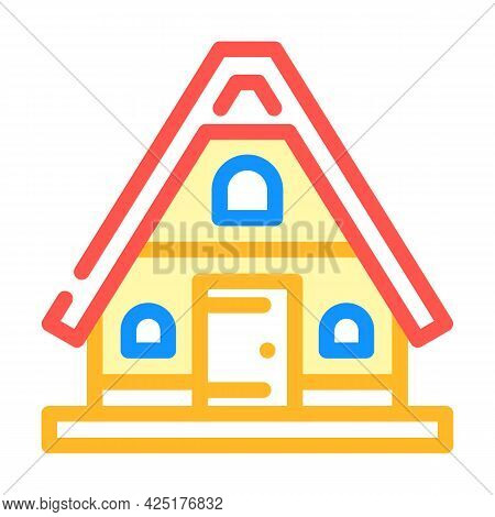 Mountain House Color Icon Vector. Mountain House Sign. Isolated Symbol Illustration