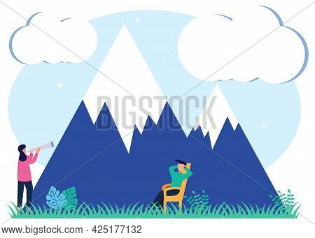 Vector Illustration Of An Ecotourism Concept. Uninterrupted Natural Mountain Environment Tourism. Ou