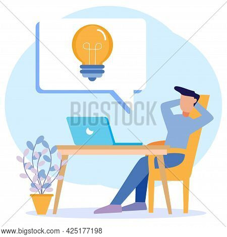 Flat Style Vector Illustration Looking For Office Worker Ideas. Creative And Innovative Process With