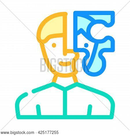 Client Puzzle Kyc Color Icon Vector. Client Puzzle Kyc Sign. Isolated Symbol Illustration