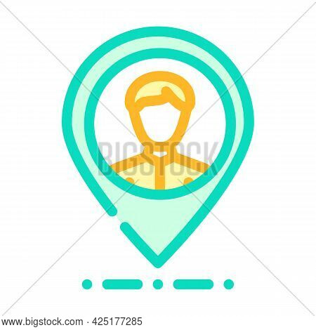 Client Geo Tag Kyc Color Icon Vector. Client Geo Tag Kyc Sign. Isolated Symbol Illustration