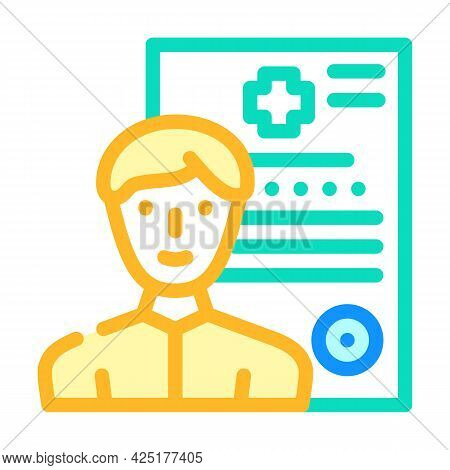 Medical Data Client Information Kyc Color Icon Vector. Medical Data Client Information Kyc Sign. Iso