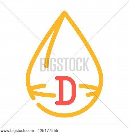 Vitamin D Drop Color Icon Vector. Vitamin D Drop Sign. Isolated Symbol Illustration