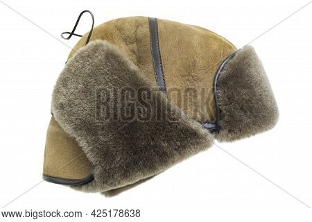 Yellow Leather And Fur Ear Flaps Hat Isolated Over White