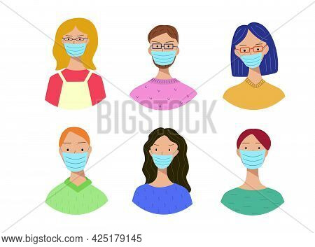 Set Of Portraits Of People Of Different Men And Women In Medical Masks On Their Faces. Prevention Of