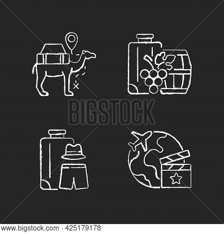 Travel Abroad Chalk White Icons Set On Dark Background. Camel Caravan. All Boy Trip. Set Jetting, Lo