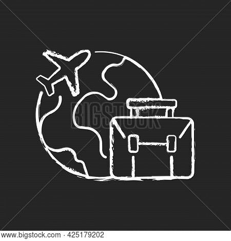 Business Travel Chalk White Icon On Dark Background. Fly Abroad For Work Meeting. International Jour