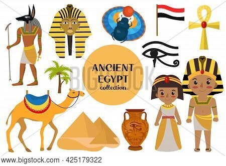 Ancient Egypt Set Objects Clip Art. Collection Design Elements Witch Sorrow Beetles, Pharaoh, Pyrami