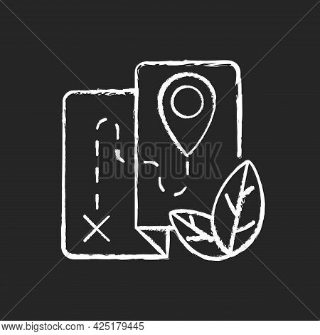 Ecotourism Chalk White Icon On Dark Background. Ethical And Responsible Trip. Eco Friendly Journey.