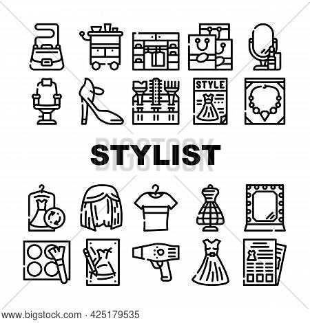 Stylist Accessory Collection Icons Set Vector. Stylist Armchair And Mirror, Sewing Mannequin And Dre