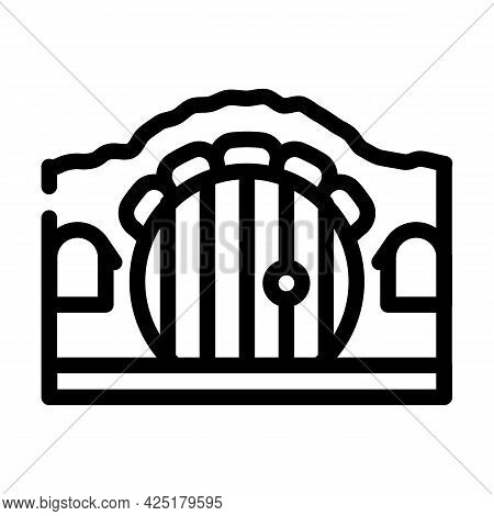 House With Round Door Line Icon Vector. House With Round Door Sign. Isolated Contour Symbol Black Il