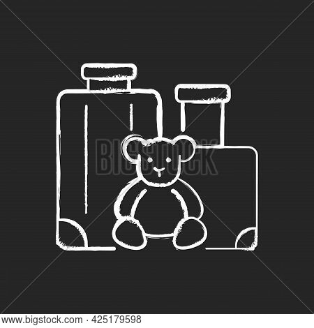 Family Vacation Chalk White Icon On Dark Background. Kid Friendly Trip. Travelling With Children. Re