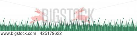 Rabbits On The Green Grass Long Banner. Chuseok Or Easter Concept. Vector Illustration