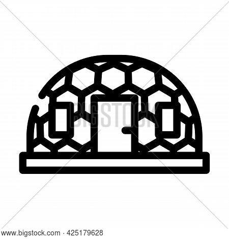 Igloo Ice House Line Icon Vector. Igloo Ice House Sign. Isolated Contour Symbol Black Illustration