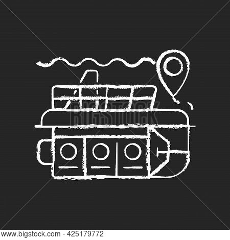 Atlantis Submarines Chalk White Icon On Dark Background. Vessel For Exploration Underwater. Scientif