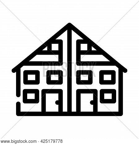 Two Family House Line Icon Vector. Two Family House Sign. Isolated Contour Symbol Black Illustration