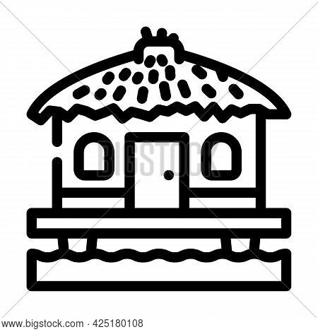 Bungalow On Water House Line Icon Vector. Bungalow On Water House Sign. Isolated Contour Symbol Blac