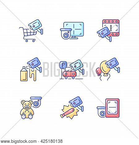 Securing Home And Business Rgb Color Icons Set. Avoiding Graffiti Damage. Cctv Monitor. Hijacking Pr