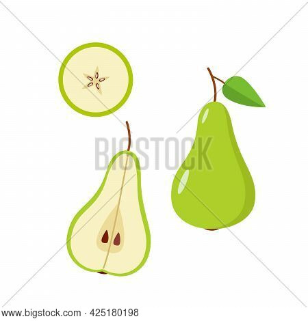 Green Pear Is Whole, Half And A Pear Slice On A White Background. Vector Illustration Of Ripe Juicy