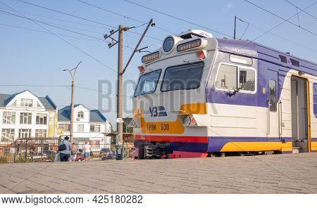 Electrical Unit At The Station. Passenger Ring Train. Kiev City Train. A Type Of Public Transport In